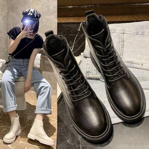 Snow boots women's shoes 2021 new cotton shoes winter shoes autumn and winter plus velvet short boots double zipper Martin boots
