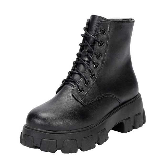 Women Motorcycle Boots Wedges Flat Shoes Woman High Heel Platform PU Leather Boots Lace Up Women Shoes Black Boots Girls