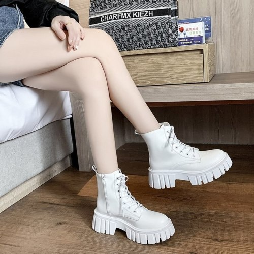 Women's Boots Front Lace-up Fashion Low-heel Square-heel Short-tube Motorcycle Boots Women's New Short-tube Fashion Boots