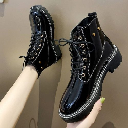 2021 Chunky Platform Lace-up Boots Women Motorcycle Ankle Boots Female Punk Shoes Thick Sole Black Martens Boots Women's Shoes