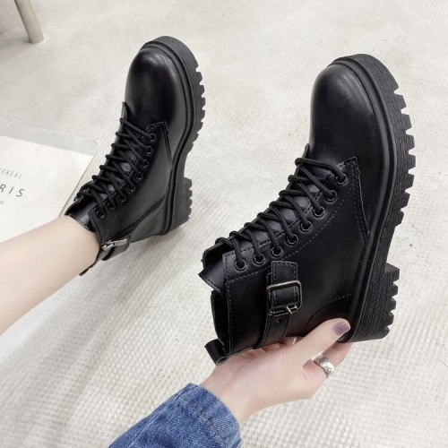 Popular Autumn New Korean Fashion Handsome Lace-up Motorcycle Boots Net Red Thick-soled Casual Round Toe Martin Boots Women