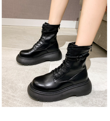 Black Martin boots female 2021 new hot girl short tube increased round head retro fried street motorcycle boots