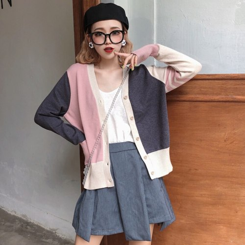 Spring and autumn knitted sweet v-neck cardigans single breasted tops high quality Women's Clothing patchwork full Sweaters hot