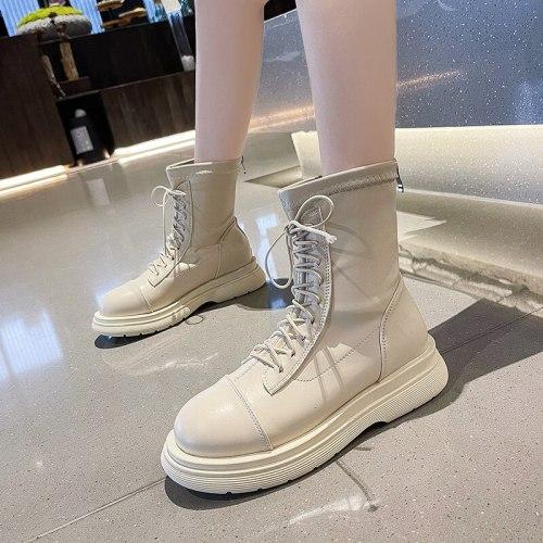 Rock Shoes Woman Round Toe Luxury Designer Lace Up Boots Boots-Women Fashion 2021 Ladies Low Autumn Rubber Riding Rome Ankle Bas