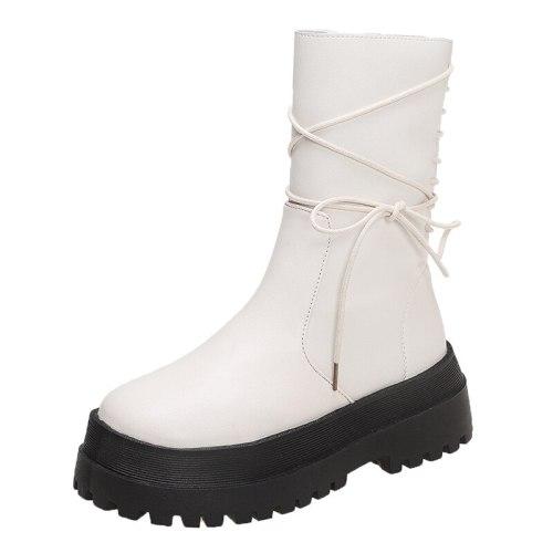 Women's Fashion Boots PU Leather Platform Female Bandage Ankle Boot Zipper Thick Bottom Non Slip Woman Shoes Autumn Winter 2021