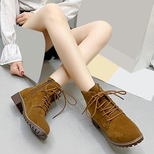 2021 Autumn Women Boots Ladies Thick Ankle Boots Plus Size Ladies Pumps Female 3.5cm High Heel Platform Rubber Shoes