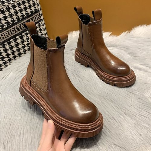 2021 New Chunky Boots Fashion Platform Women Ankle Female Sole Pouch Ankle Botas Mujer Round Toe Slip-On Botas Altas Mujer