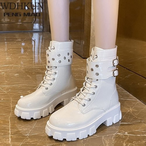Women Ankle Boots Autumn Winter Shoes Lace Up High Quality Leather Boot Anti-slip Wear-resistant Comfortable Women Ankle Boot