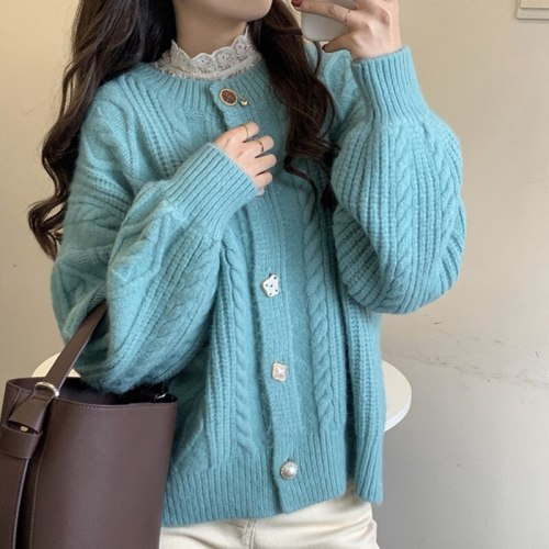 Autumn Winter Women Casual Loose Irregular Buttons O-neck Cardigan Female Solid Long Sleeve Warm Knitting Sweater