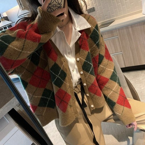 V Neck Color Block Argyle Sweater Cardigan Single Breasted Women Fall Black White Vintage Outerwear Women Tops Kawaii