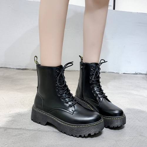 Fashion White Martin Boots Women Soft Thick Sole Lace-up Ankle Boots Lady Non-slip Platform Booties 2021 Female Short Boots