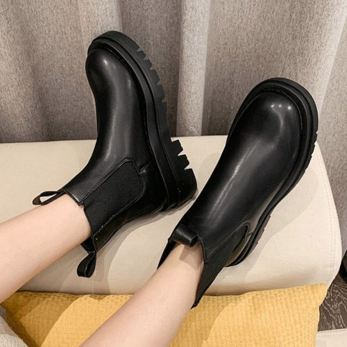 Plus Size 35-43 Women Chelsea Boots Black Platform Boot Chunky Casual Shoe Booties Western Stretch Fabric botas mujer 2021