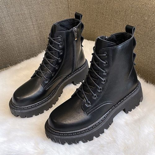 Hot Motorcycle Boots 2021 Women Fashion Genuine Leather Ankle Boots For Women Chunky Platform New Party Shoes Woman
