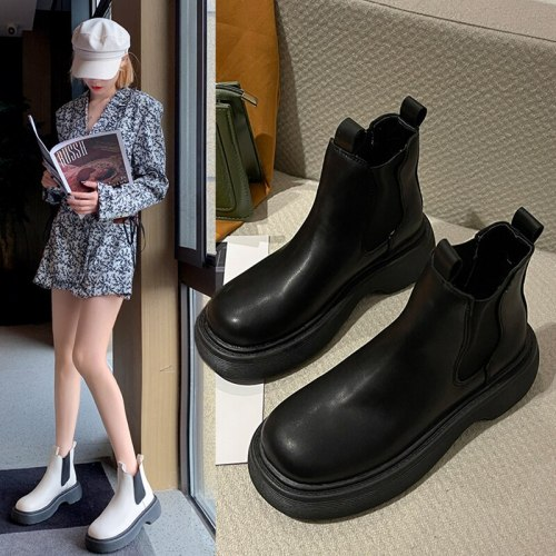 Lady Boots Rock Shoes Woman  Chelsea Luxury Designer Round Toe Boots-Women Med Fashion Lolita Ankle Summer Autumn Rubber