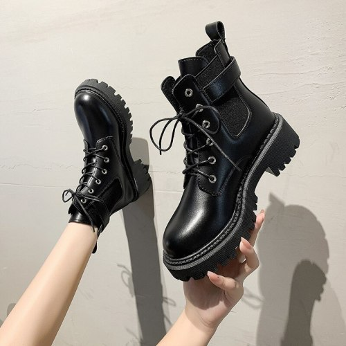 Black Platform Boots Women Winter Leather Boots Lace Up Ankle Motorcycle Boots Platform High Top Women Casual Shoes botas mujer