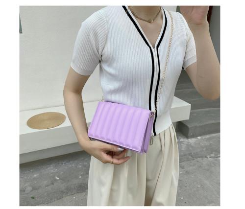 Stripe Shape PU Leather Small Shoulder Square Bag 2021 New Trendy Fashion Female Messenger Bag Candy Color Chain Lady Handbag