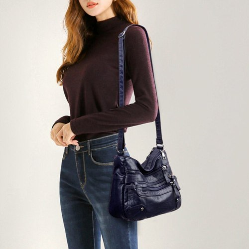 Soft Flap Single Shoulder Crossbody Pack Bag Handbags Tote For Woman All-Match Large Capacity PU Leather Messenger