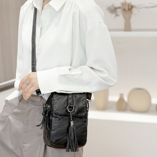 Retro Crossbody Bag For Women Tassel PU Leather Shoulder Bag Small Phone Messenger Bag Square Bag Mini Lady Shopping Purse bolso