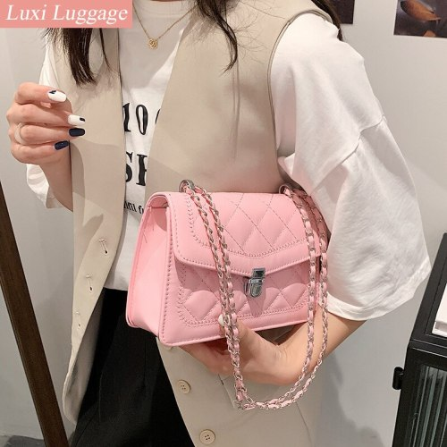 Women Diamond Lattice Chain Flap Bags Handbags Luxury Designer Brand Pu Leather Crossbody Bag Pink Shoulder Messenger Bag