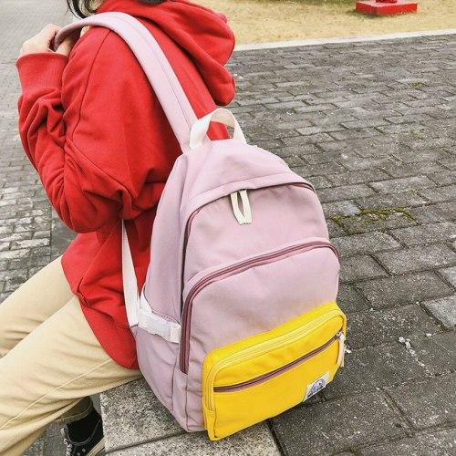 Women's Backpack Female Waterproof Nylon School Backpacks for Teens Panelled Harajuku Book Bag for Women 2021 Luxury Ladies Pink