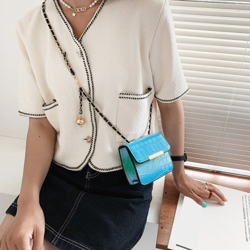 Fashion Women Stone Pattern Shoulder Crossbody Bags PU Leather Messenger Bag Casual Ladies Chain Gradient Color Mini Handbags