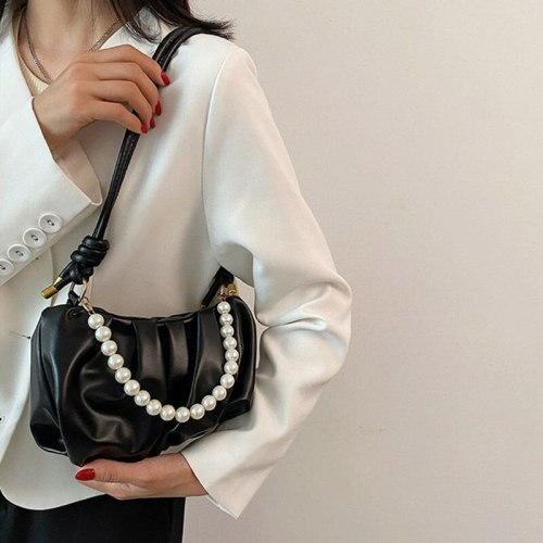 2021 Summer New Female Bag Tide Wild Pearl Chain Messenger Bag Female Mobile Phone Bag Card Bag Key Bag Shopping Bag