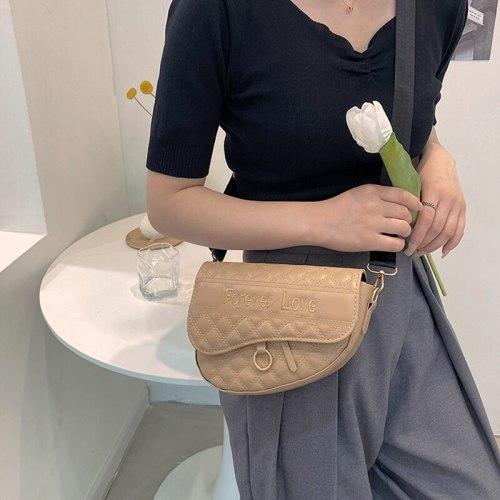Women's Brand Shoulder Bag Fashion Trend Embroidery Diamond Lattice Crossbody Saddle Bags Designer Female Clutch Purse 2021