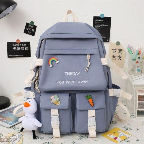 Student Fashion Book Bag Backpack Women Kawaii School Bag Teenage Girl Waterproof Women Backpack Panelled Anti-Theft Backpack