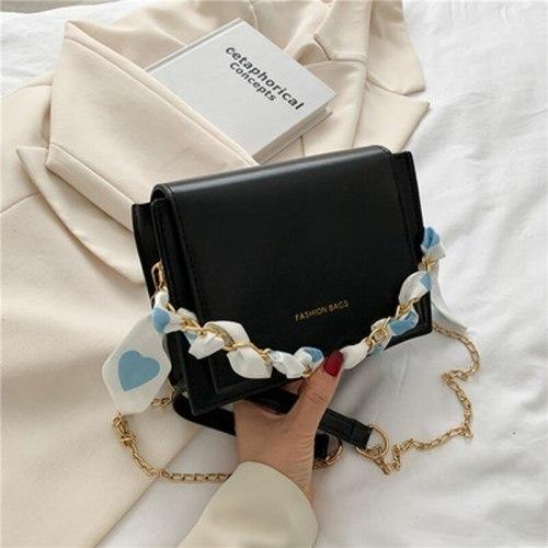 Korean Mini Square Bag Women 2021 New Buckle Soild Color Shoulder Bag Student Mobile Phone Bag Ribbon And Chian Crossbody Bags