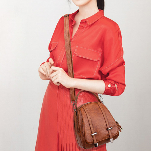 Vintage Small Shoulder Bag Women Soft PU Leather Crossbody Bag Multifunction Messenger Bag Casual Lady Handbag Bolso