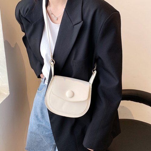 Fashion PU Leather Mini Saddle Crossbody Bags For Women Solid Color Casual Ladies Shoulder Messenger Bags Small Flap Handbags