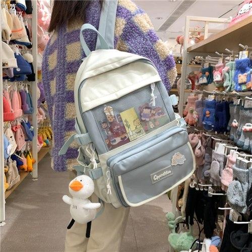 New Contrast Color Women Waterproof Nylon Backpack Luxury Student Cute School Bag Female Laptop Backpacks Teenage Girl Rucksack