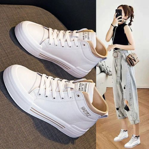 Little White Shoes Female 2021 New Cowhide Ladies Flat High-top Single Shoes All-match Lace-up Soft-soled Casual Women's Shoes