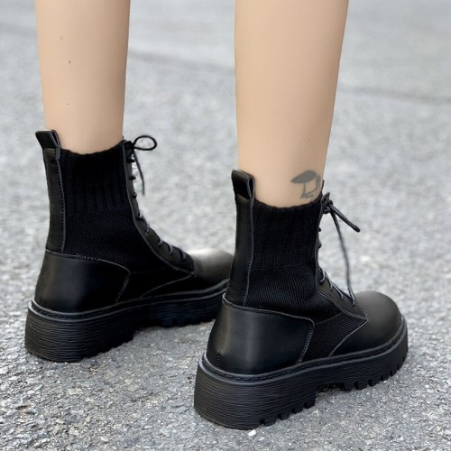 2021 Autumn and Winter New Women's Boots Knitted Short Boots Front Lace-up Martin Boots British Style Retro Leather Boots Trend