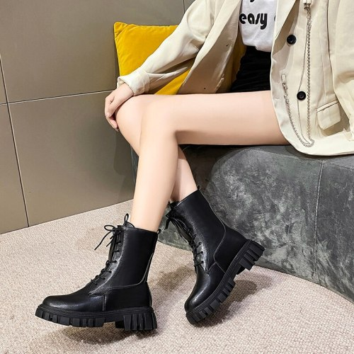 Ankle Boots Platform Women's Shoes Bouttine Leather Female Women Dropshipping Center Chunky Tennis Woman Lolita Lace Up Footwear