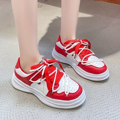 Women Shoes 2021 New PU Leather Breathable Sneakers Women Casual Shoes Chaussure Femme Fashion Round Toe Lace-up Flats Sneaker
