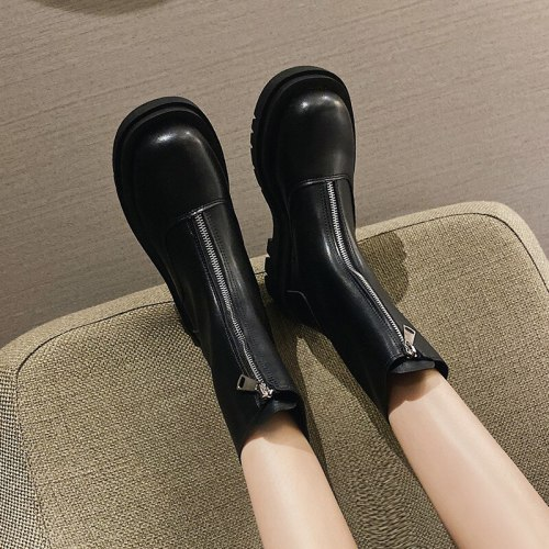 2021 Autumn Fashion Wear Women Boots Women Boots Women Round Toe Mid-heel Calf Boots Women PU Square Heel Shoes Platform Shoes