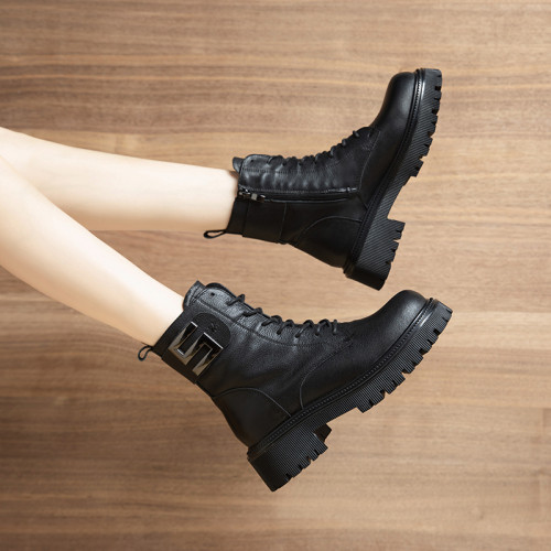 Women's Mid-tube Boots Winter Snow Boots Women's Fashion Black Leather Platform Gothic Boots Black Lace-up Side Zipper Boots