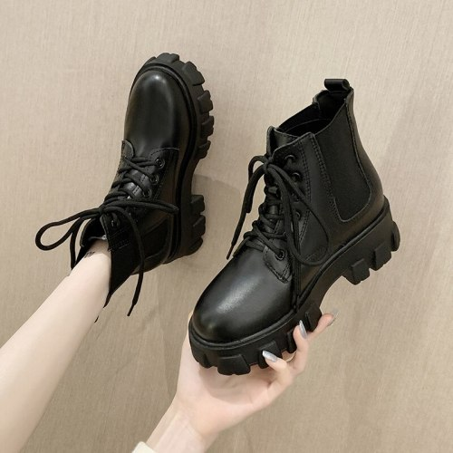 Round Toe White Ankle Boots Shoes Luxury Designer Boots-Women Lace Up Low Rock Lolita Fashion Rubber High Heel 2021 Ladies