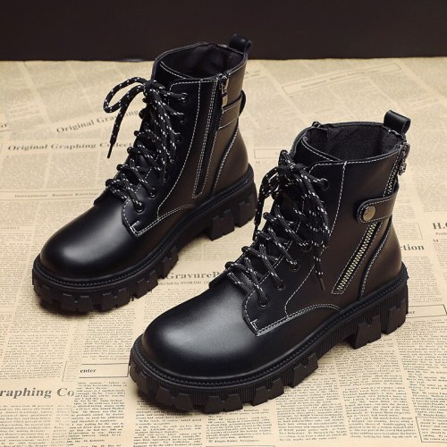 Women Martin Boots British Flats Platform Ankle Lace-up PU Leather Non Slip Winter Autumn Footwear 2021 Shoes Botas Mujer Boots