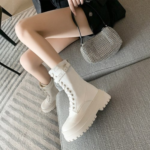 New 2021 Casual Women's Boots Thick Sole Muffin Pure Color Platform Shoes for Women Autumn Winter Martin Boots Female