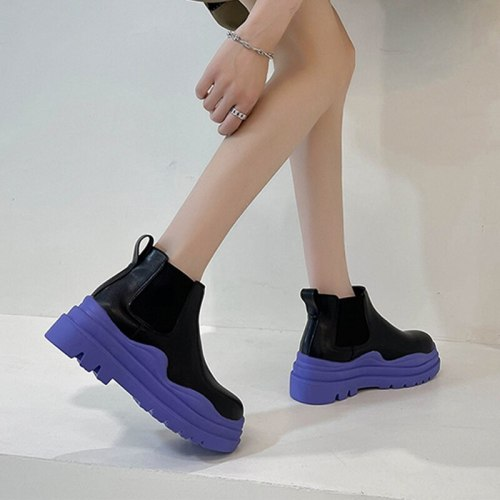 Women Boots Chelsea Thick Bottom Non-slip Sock Boots Slip On Female Round Toe Leather Ladies Shoes Casual Color Botas De Mujer