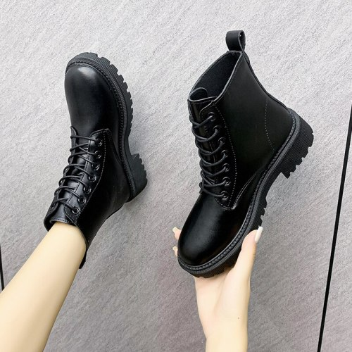 Autumn Boots Women's Shoes Women's Shoes Fashion Round Leather Ankle Boots 2021 Winter Stretch Black Boots Comfortable Boots