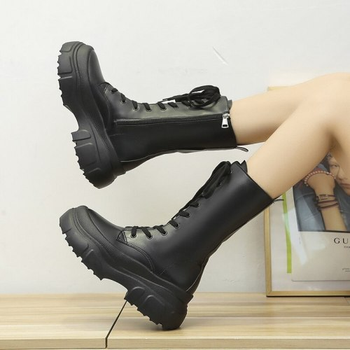 2021 New Thick Wedge Heel Winter Knight Boot Women's Knee-length Long Non-slip Retro Thick Motorcycle Boots Black Platform Boots