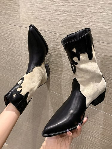 Fashion Boots Women's Shoes Spring and Autumn 2021 New Fashion Back Zipper Pointed Thick Heel Non-slip Chelsea Boots