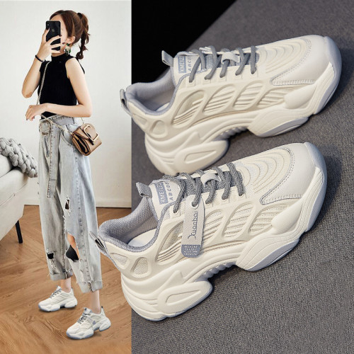 Women Chunky Platform Sneakers Fashion Lace Up Old Dad Shoes Woman Thick Sole Basket Female Casual Shoes