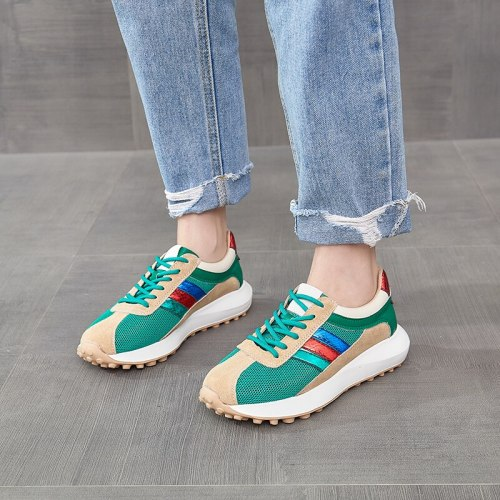 2021 Women Casual Shoes Mesh Spring Woman Shoes Fashion White Sneakers Breathable Lace-Up Women Sneakers Platform Breathab Shoes