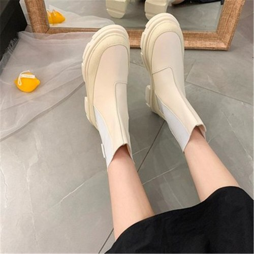 2021 New Chunky  Ankle Boots Women Fashion Platform Female Thick Sole Shoes Botas Mujer Round Toe Slip-On Boot Altas Mujer Black