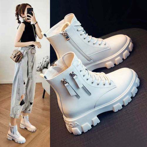 2021 Winter Fashion Women Beige Lace Up Martin Boots Black Wedges High Heels Platform Punk Motorcycle Boots Ankle Boots Shoes