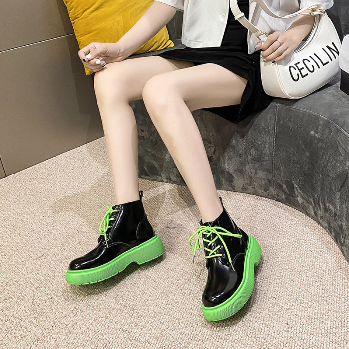 Riding Boots  Shoes Round Toe Boots-Women Rubber Rock Mid-Calf Lolita Mid Calf Autumn 2021 Ladies Low Lace-Up Solid Basic PU Fab